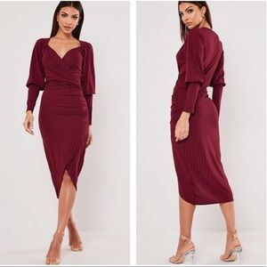 Tall Wine Ribbed Wrap Midi Dress